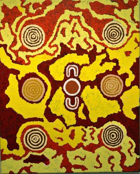 Barbara Derose, Two women (kungka kutjara) 2008, 68x55cm acrylic on canvas, certificate