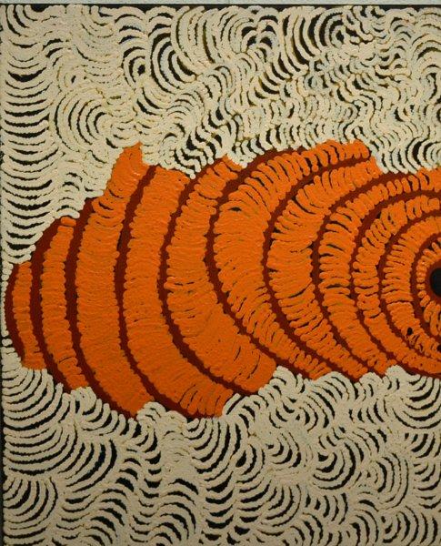 Rene Sundown, Wiltja, traditional bush shelter, 60x50cm acrylic on canvas, certificate
