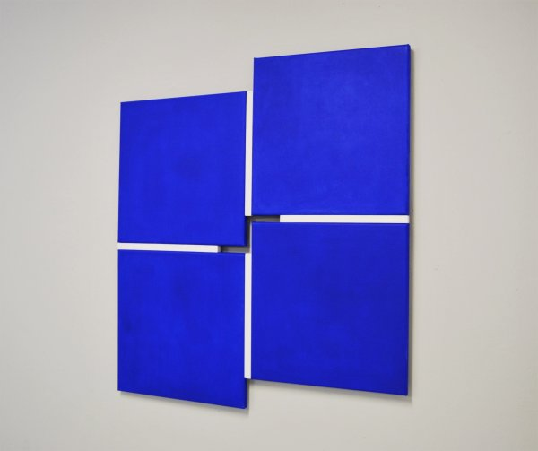o-68 Tineke Porck - Shifts 242020, 4-parts blue-white, 89.8x81.8 cm, oil on canvas construction, 2020