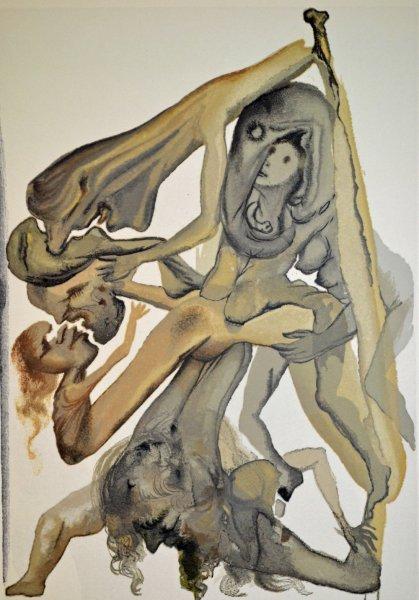 Salvador Dali, Divina commedia inferno04, 1960, 33x26cm wood engraving
