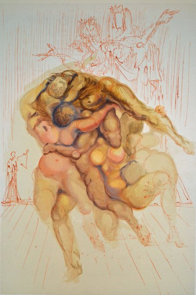 Salvador Dali, Divina commedia inferno08, 1960, 33x26cm wood engraving