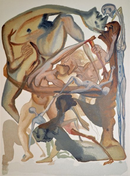 Salvador Dali, Divina commedia inferno11, 1960, 33x26cm wood engraving