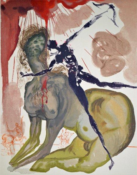 Salvador Dali, Divina commedia inferno12, 1960, 33x26cm wood engraving