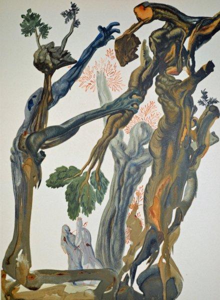 Salvador Dali, Divina commedia inferno13, 1960, 33x26cm wood engraving