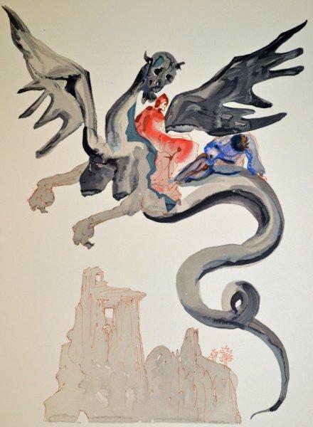 Salvador Dali, Divina commedia inferno17, 1960, 33x26cm wood engraving