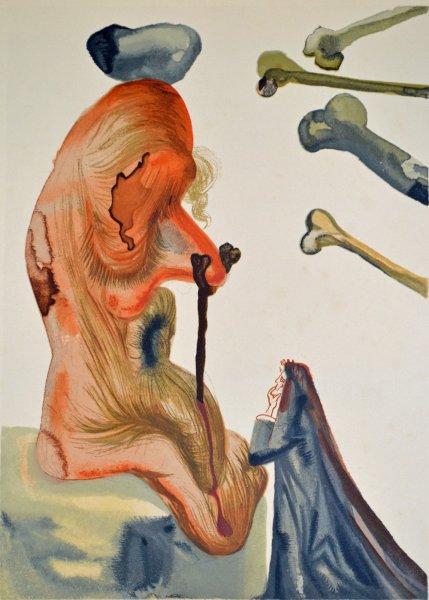 Salvador Dali, Divina commedia inferno18, 1960, 33x26cm wood engraving