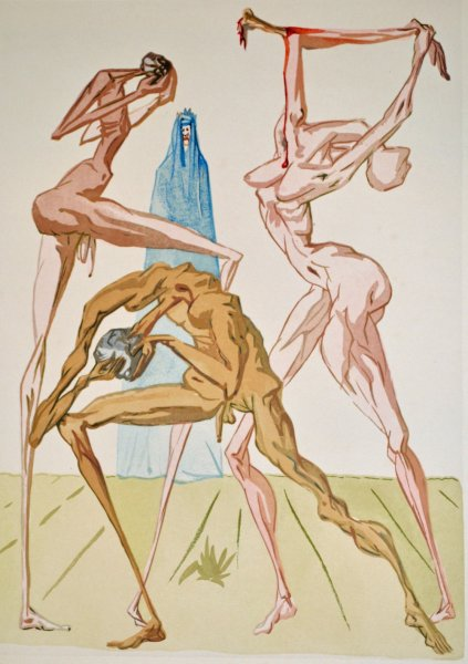 Salvador Dali, Divina commedia inferno19, 1960, 33x26cm wood engraving