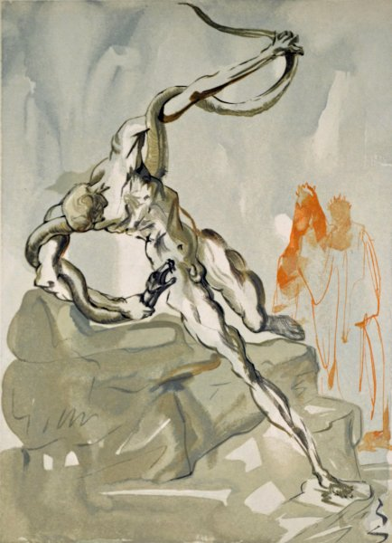Salvador Dali, Divina commedia inferno24, 1960, 33x26cm wood engraving