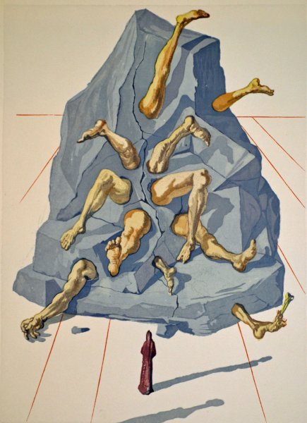 Salvador Dali, Divina commedia inferno26, 1960, 33x26cm wood engraving
