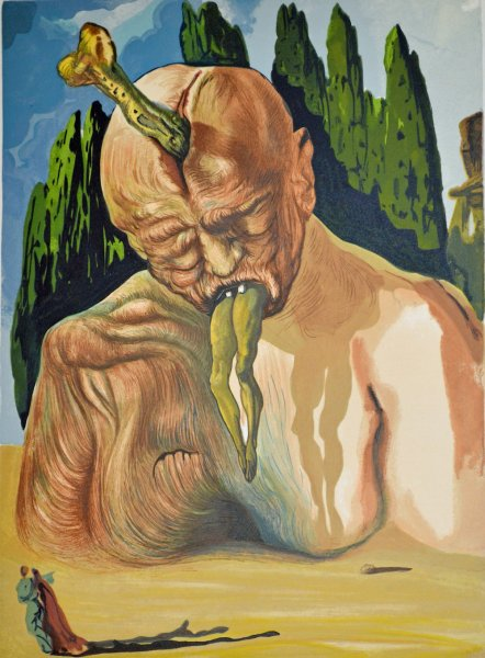 Salvador Dali, Divina commedia inferno27, 1960, 33x26cm wood engraving