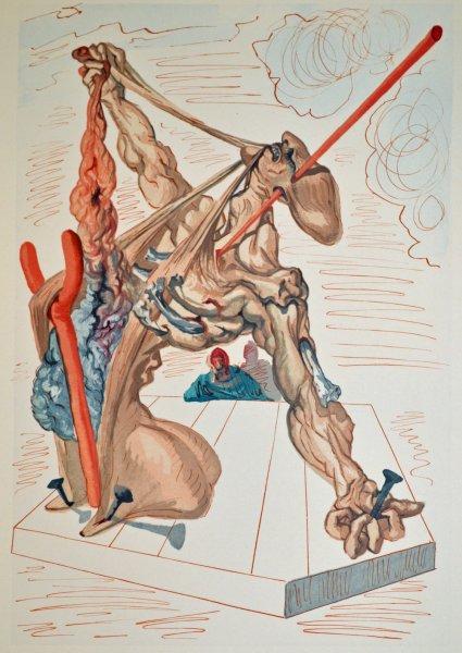 Salvador Dali, Divina commedia inferno29, 1960, 33x26cm wood engraving