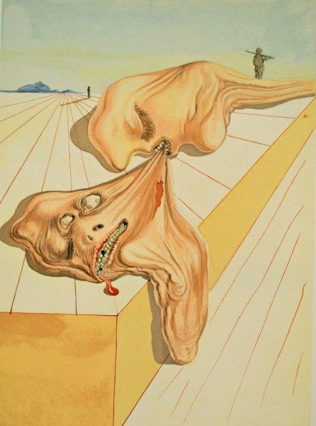 Salvador Dali, Divina commedia inferno30, 1960, 33x26cm wood engraving