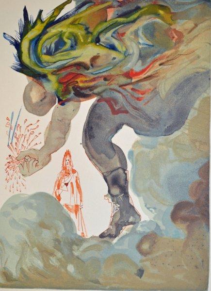 Salvador Dali, Divina commedia inferno31, 1960, 33x26cm wood engraving
