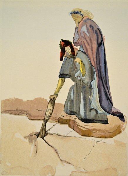 Salvador Dali, Divina commedia inferno32, 1960, 33x26cm wood engraving