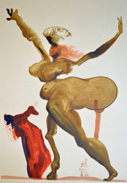 Salvador Dali, Divina commedia inferno33, 1960, 33x26cm wood engraving