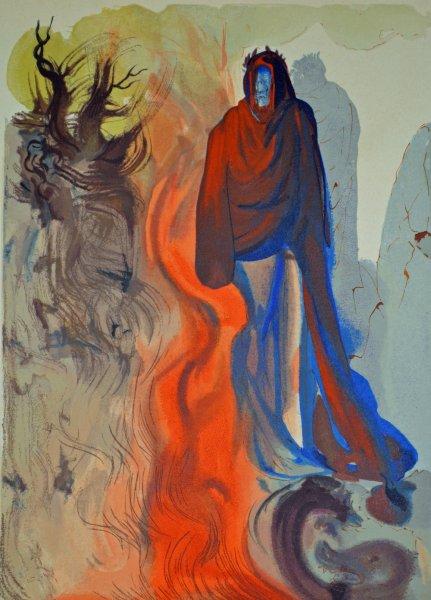 Salvador Dali, Divina commedia inferno34, 1960, 33x26cm wood engraving