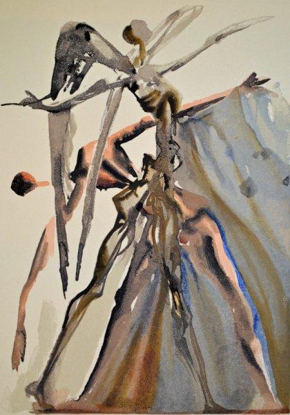 Salvador Dali, Divina commedia purgatorio04, 1960, 33x26cm wood engraving
