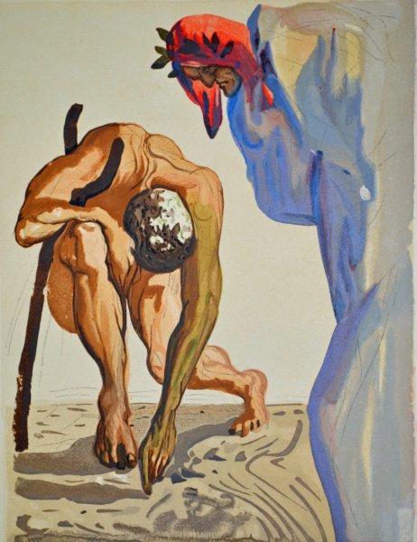 Salvador Dali, Divina commedia purgatorio07, 1960, 33x26cm wood engraving
