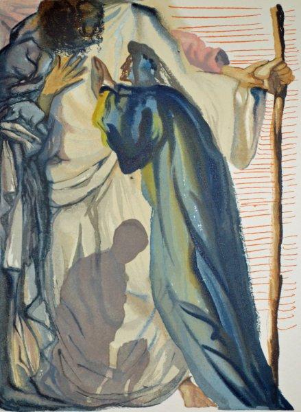 Salvador Dali, Divina commedia purgatorio14, 1960, 33x26cm wood engraving