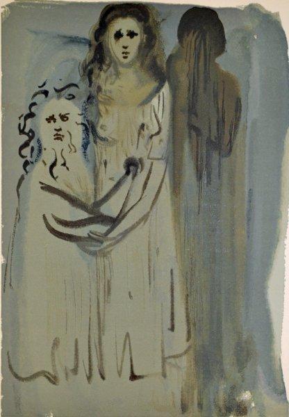 Salvador Dali, Divina commedia purgatorio16, 1960, 33x26cm wood engraving