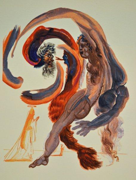 Salvador Dali, Divina commedia purgatorio18, 1960, 33x26cm wood engraving