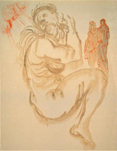 Salvador Dali, Divina commedia purgatorio19, 1960, 33x26cm wood engraving