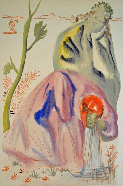 Salvador Dali, Divina commedia purgatorio21, 1960, 33x26cm wood engraving