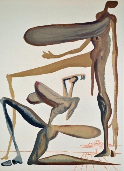 Salvador Dali, Divina commedia purgatorio22, 1960, 33x26cm wood engraving