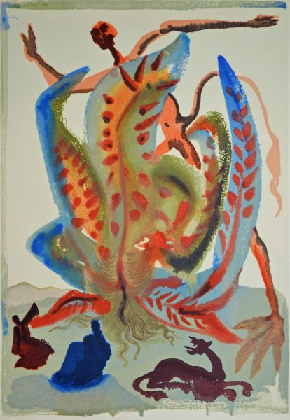 Salvador Dali, Divina commedia purgatorio23, 1960, 33x26cm wood engraving