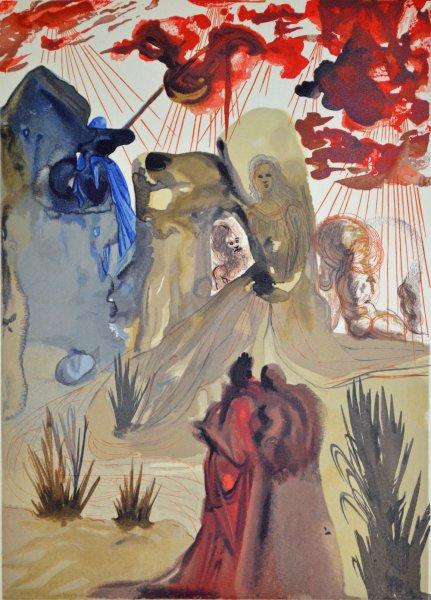 Salvador Dali, Divina commedia purgatorio28, 1960, 33x26cm wood engraving
