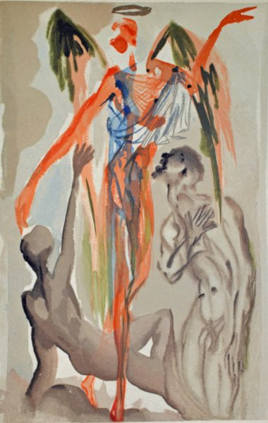 Salvador Dali, Divina commedia purgatorio32, 1960, 33x26cm wood engraving