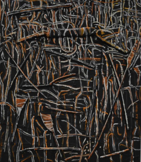Theo Kuijper Trees after Bushfire, 2010, 150x130 cm oil collage on canvas