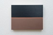 O-68 José Heerkens. 2017-X52. Bruin+zwart+oranje olieverf op multiplex, 20 x 25 cm. foto Willem Kuijpers