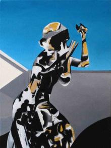 O-68, Daniela Schwabe, Mon Cheri, 2018, oil and gold leaf on canvas, 30x40cm, web