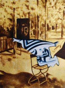 O-68, Daniela Schwabe, ODEUR, 2018, oil and gold leaf on canvas, 30x40cm, web