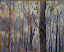 O-68 Elli Slegten, Doorzicht verbrand bos, acryl op linnen, 2013