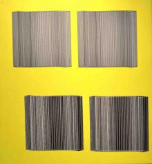 o-68 Marten Hendriks, i.v.m. Barcode Building, zeefdruk op linnen, 2014