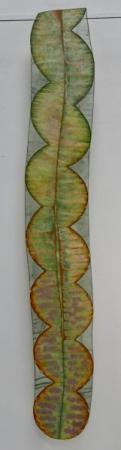 O-68, nikki van es, Fragment of growth 2021, Nepalese and Japanese paper, aquarel, crayon, acrylic, 180 x 24 cm.