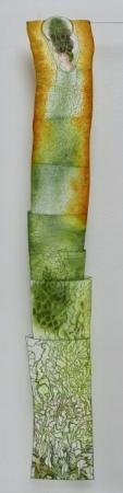 O-68, nikki van es, Fragment of growth, 2021, Nepalese and Japanese paper, aquarel, crayon, acrylic, 180 x 30 cm