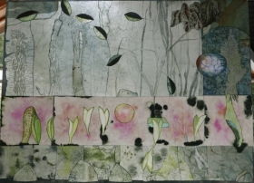 O-68, nikki van es, Texture of the Forest 7, 2021, Nepalese and Japanese paper, aquarel, crayon, acrylic, 90 x 122 cm