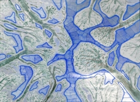 O-68, nikki van es, Texture of the Forest 8, 2021, Nepalese and Japanese paper, aquarel, crayon, acrylic, 90 x 122 cm