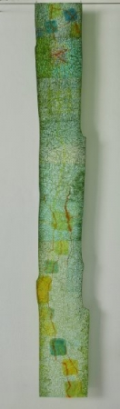 O-68, nikki van es, groeifragment De Stijl 2020, Japans papier, aquarel, krijt, acryl, 24 x 180 cm