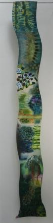 O-68, nikki van es, groeifragment El Jardin 2020, Nepalees en Japans papier, aquarel, krijt, acryl, 180 x 30 cm