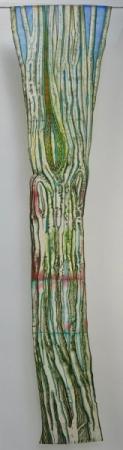 O-68, nikki van es, groeifragment the birch 2019, Nepalees en japans papier, aquarel, krijt,acryl, 180 x 40 cm