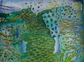 O-68, nikki van es, weefsel van het bos 2, 2020, Nepalees en Japans papier, Aquarel, krijt, acryl, 90 x 122 cm.