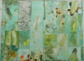 O-68, nikki van es, weefsel van het bos 3, 2020, Nepalees en Japans papier, aquarel, krijt, acryl, 90 x 122 cm.