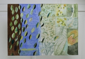 O-68, nikkivan es, Texture of the Forest 6, 2021, Nepalese and Japanese paper, aquarel, crayon, acrylic, 90 x 122 cm