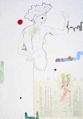 O-68 Terry Thompson, Flora, mixed media on paper, 42,5 X 29,5 c, 2016 web