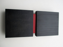 O-68 nr. 10 Tineke Porck division with red 2018 10x21cm oil onwood ad mdf