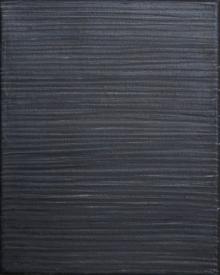 O-68 nr. 3 Tineke Porck Lines 2015-2 zwart 30x24cm oil oilcrayon graphite on canvas